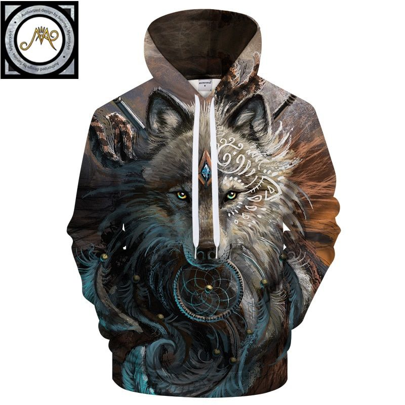 <font><b>Wolf</b></font> Warrior by SunimaArt Hoodies Unisex Hooded Sweatshits Drop Ship Animal Hoodie Brand Tracksuits 2018 Pullover Male Coat