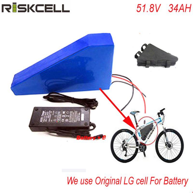 Freies tasche Dreieck stil 51,8 V 34AH elektrische fahrrad-lithium-batterie 52 V 1500 watt bike batterie fit 48 v bafang motor Für LG zelle