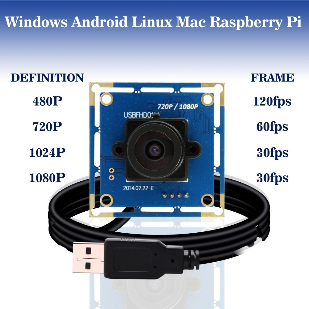 1080p Full Hd MJPEG 30fps/60fps/120fps haute vitesse CMOS OV2710 grand Angle Mini CCTV Android Linux UVC Webcam Usb caméra Module