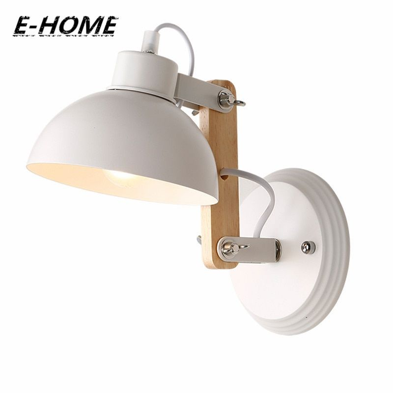 European style simple modern hotel bedroom bedside aisle lights staircase balcony solid wood wooden small wall lamp