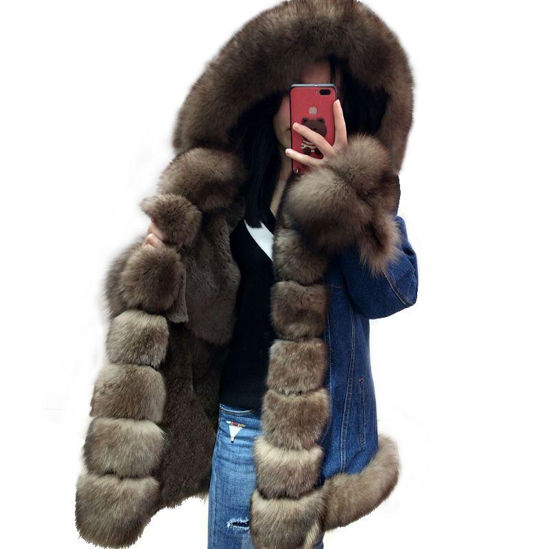 2017 new fashion coat denim shell pie clothes female real fox fur leather jacket shell star models skin
