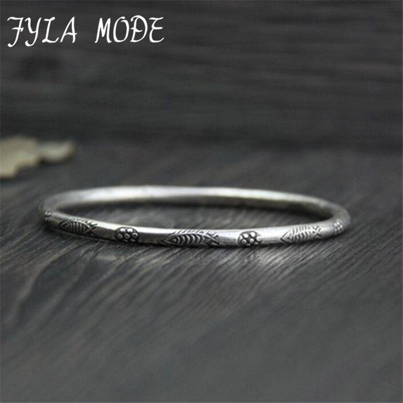 Fyla Mode S925 Bijoux En Argent Sterling Mode Thai Argent Sculpté À La Main Motif de Petits Poissons Bracelets Bracelets 3mm 9.5g PKY161