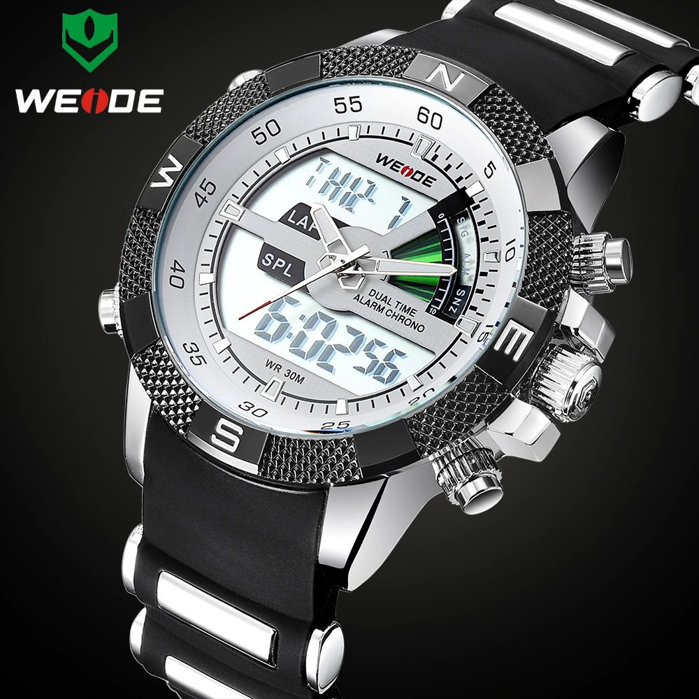 Luxury Brand WEIDE Men Fashion Sports Watches Men's Quartz <font><b>Analog</b></font> LED Clock Male Military Wrist Watch Relogio Masculino