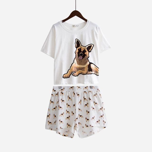 Women Cute Pajama Sets German Shepherd Dog Print 2 Pieces Set Crop Top + Shorts Elastic Waist Loose Top White Home Wear S7N901
