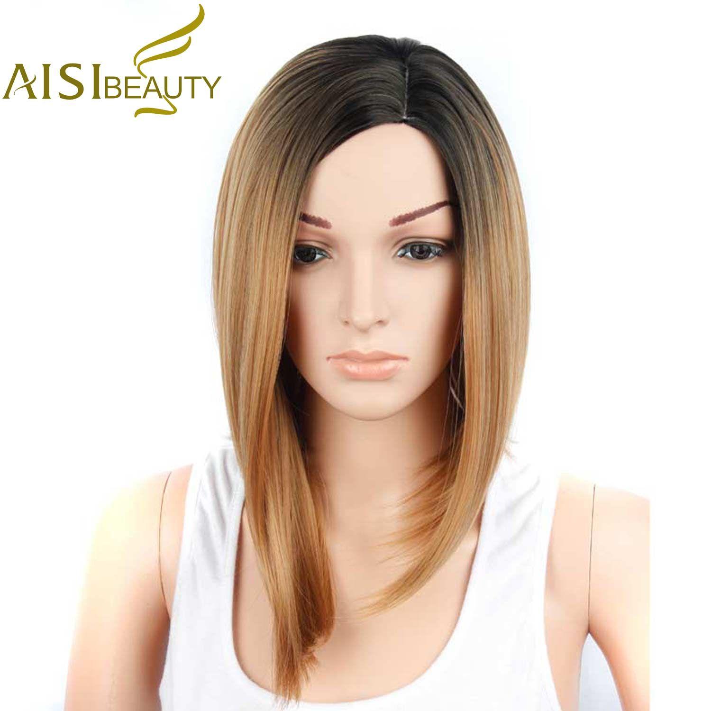 Aisi красота короткие синтетический парик Боб блондинка Искусственные парики для черный Для женщин афроамериканец ombre волос