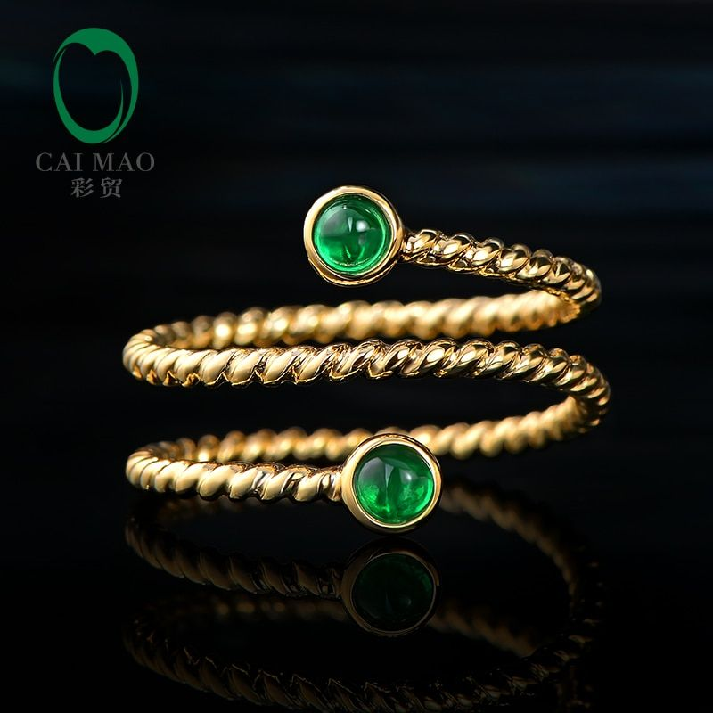 CaiMao Smalle Bezel 0.24ct Natural Cabochon Emerald Exquisite Ring 14K Yellow Gold Wedding Band Resizable