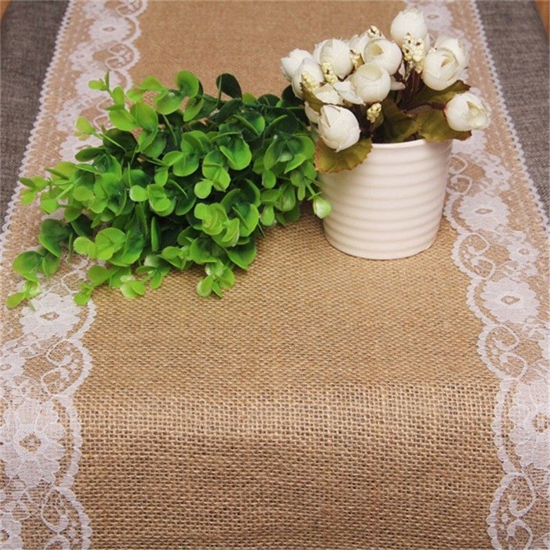 2017 New Vintage Lace Jute Table Runner Linen Hessian Burlap Country Event Party Supplies Original White Wedding Decoration