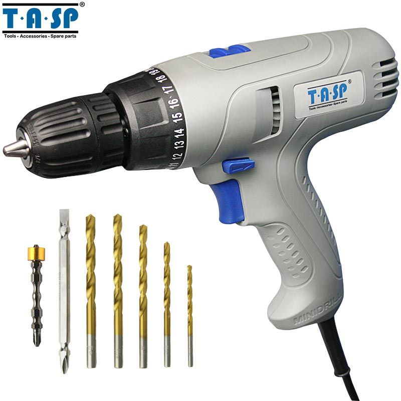 TASP MESD280C 220V 280W 2-Speed Electric Drill Screwdriver Power Tool Set for Drilling & Screwing with Keyless Chuck & 5m Cable