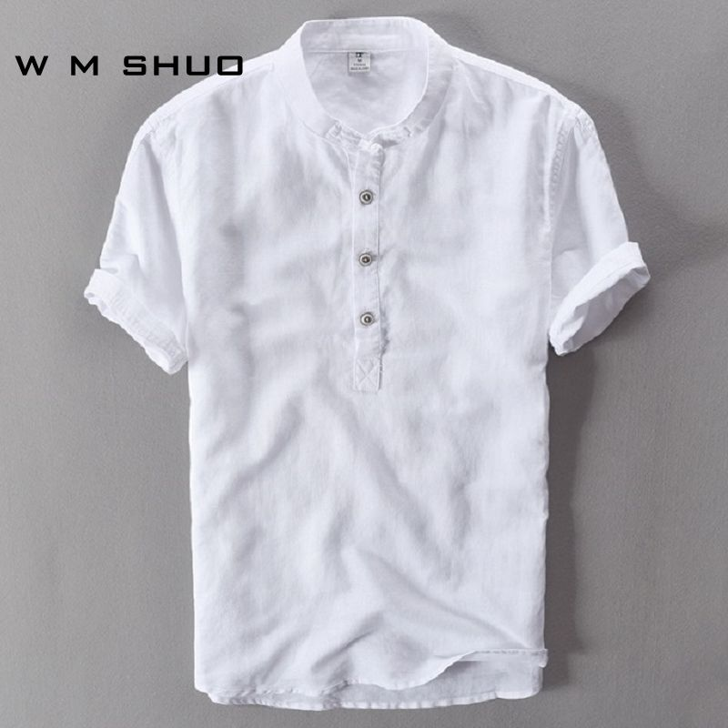 Mens Shirts Fashion 2017 Summer Short Sleeve Slim Linen Shirts Male White Color Casual Shirts Plus Size Tops Camisa Masculina