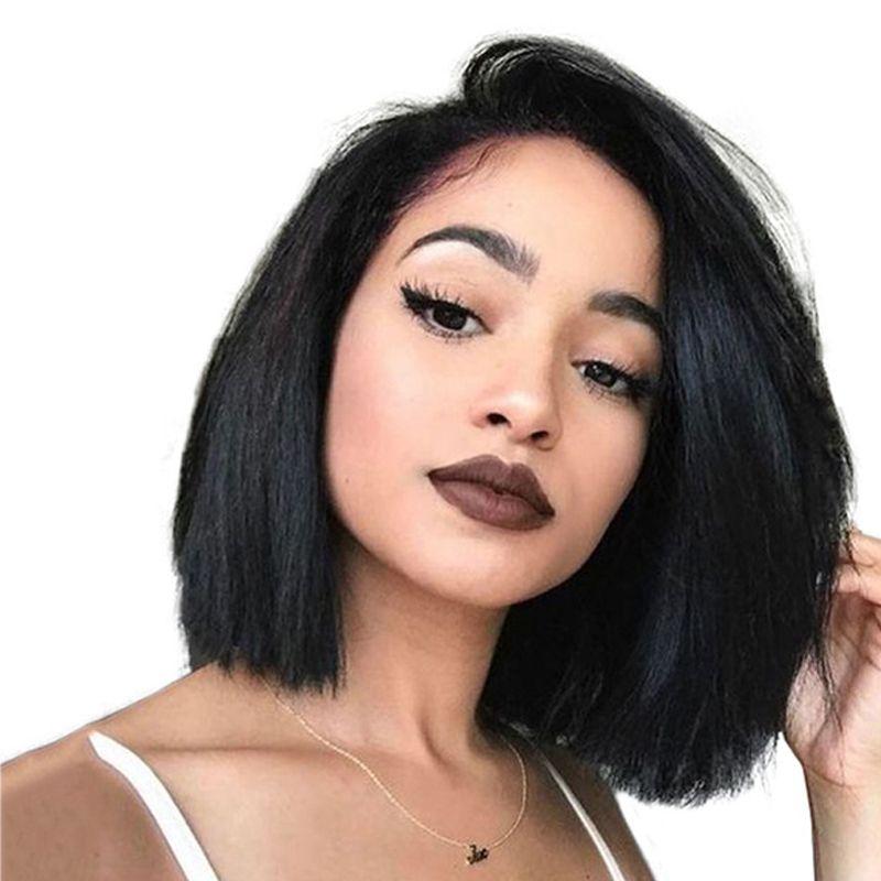 250 Density Short Full Lace Front Human Hair Wigs For Women 13X6 Brazilian Virgin Hair Straight Bob 360 Lace Frontal Wig Venvee