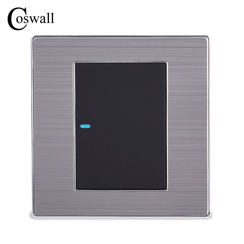 Coswall 1 Gang 1 Way Luxury LED Light Switch On / Off Wall Switch Interruptor Brushed Silver Panel 10A AC 110~250V