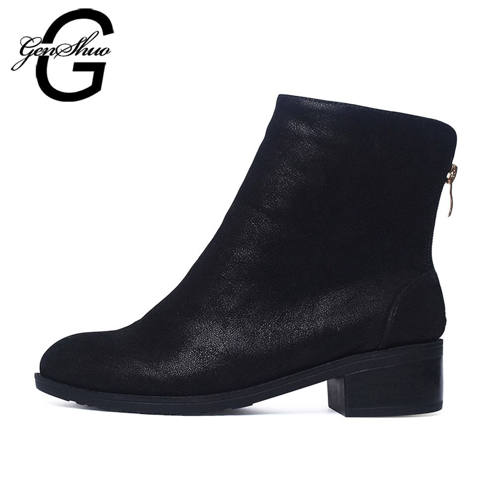 Women Boots Ankle Boots 2018 Winter Shoes Fur Chunky Heel Women's Boots Zipper Round Toe Brand Woman Botas Black Plus Size 41 42