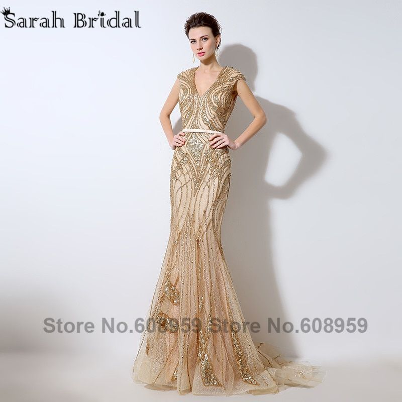 2017 Luxury Gold Sequins Illusion Back Evening Dresses Sexy V-neck Beaded Lace Mermaid Prom Dress Dubai Rodes De Soiree LSX053