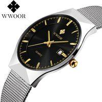 Relojes WWOOR para hombre nuevo reloj de marca de lujo para hombre, reloj deportivo de cuarzo, correa de malla de acero inoxidable, reloj de fecha ultrafino
