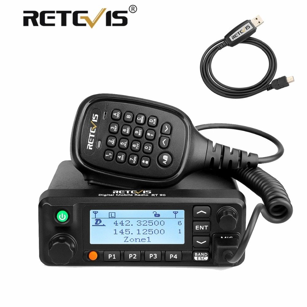 Retevis RT90 Car/Truck Walkie Talkie VHF UHF Dual Band DMR GPS Digital Mobile Radio Transceiver 50W Two Way Radio+Program Cable