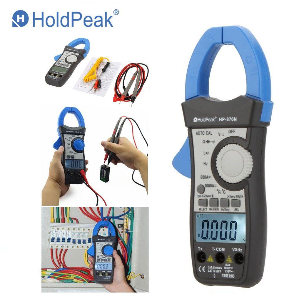 HoldPeak HP-870N gamme automatique DC AC pince numérique multimètre Pinza Amperimetrica Amperimetro vrai RMS fréquence rétro-éclairage