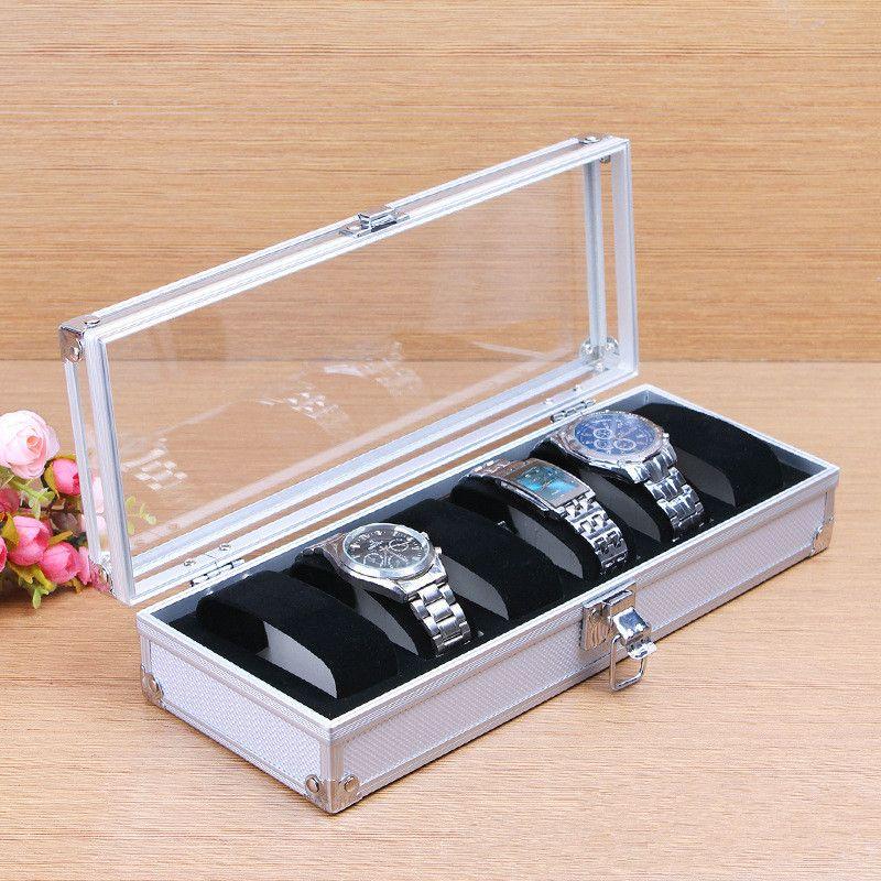Fashion Luxury 6/12 <font><b>Grid</b></font> Aluminium Watch Box Display Case Box Jewelry Collection Storage Organizer Wristwatch Box Holder Gift