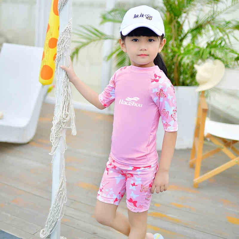 Girl Swimwear Kids Swim Two Piece Children Swimsuit With Shorts Pink Blue Butterfly Bathing Suit Child Surf Beach Wear Quick Dry