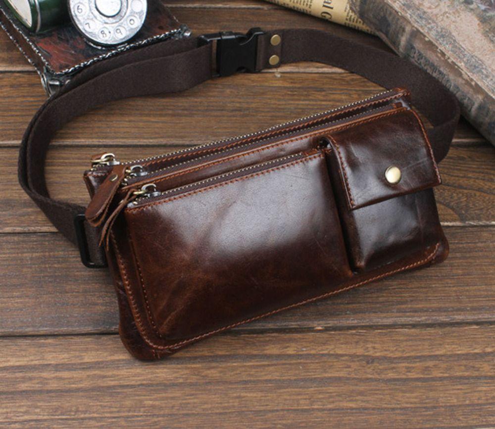 Men Oil Wax Genuine Leather Cowhide Vintage Travel Riding Motorcycle Hip Bum Belt Pouch Fanny Pack Waist Purse Clutch Bag