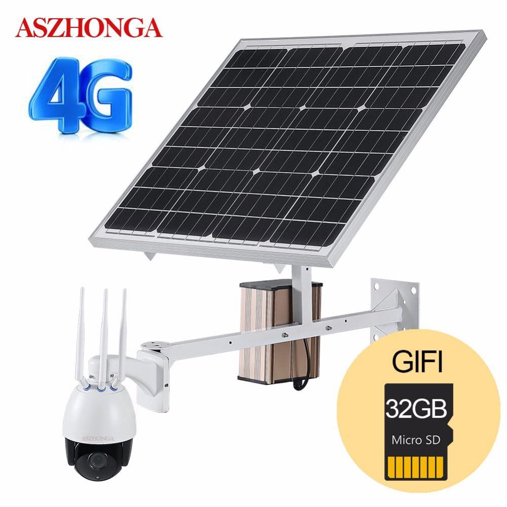 4G 3G SIM Drahtlose 1080P HD WiFi PTZ Solar IP Kamera P2P Außen Kamera CCTV Sicherheit Kamera 60W Solar Power Panel 32GB TF Karte