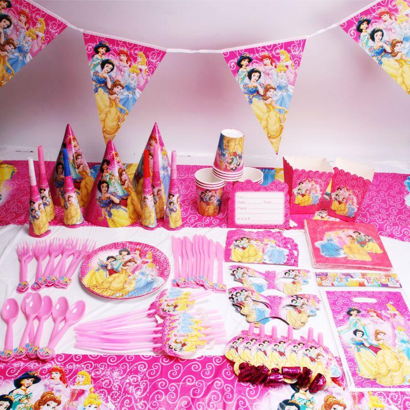 135 pcs/lot Princesse Party Favors Enfants Fête D'anniversaire Décorations Enfants Articles De Fête D'anniversaire Jetable Vaisselle Ensembles