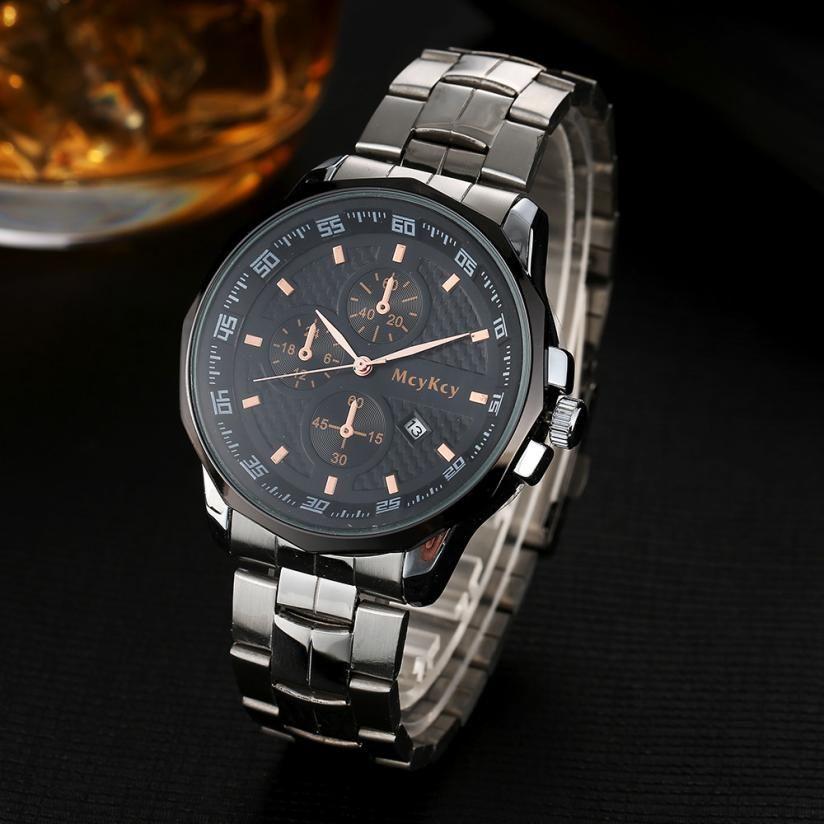 2017 Newly Designed Luxury Mens Black Dial Gold Stainless Steel Date Quartz Analog Sport Wrist Watch LEVERT DROPSHIP 327