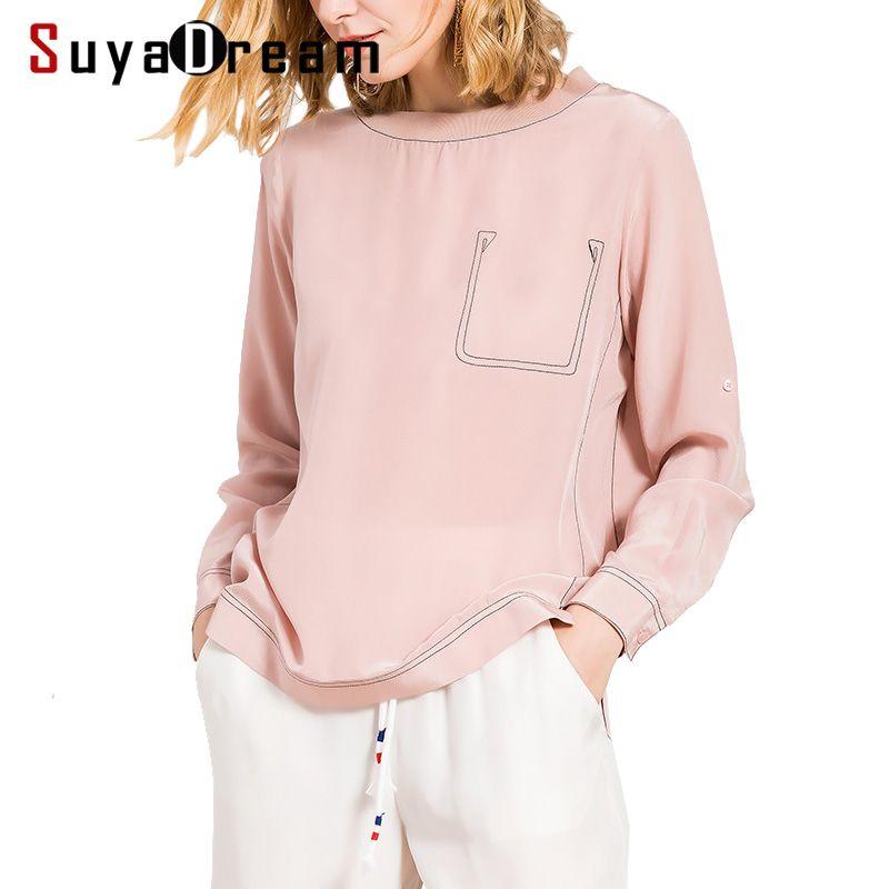 Women Long sleeve SHIRT 19mm 100% Real silk casual Top 2017 Fall New T shirt Bottoming shirt Pink