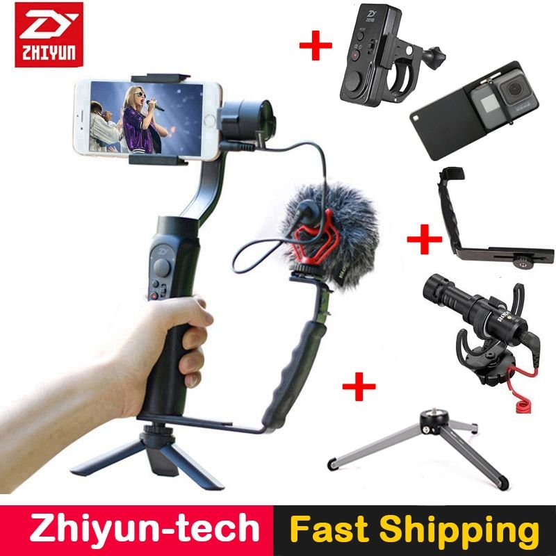 Zhiyun Smooth Q 3-Axis Gimbal Stabilizer with <font><b>Boya</b></font> BY-MM1 microphone Kit Vlogging following shoot for iPhone X Gopro Hero SJCAM