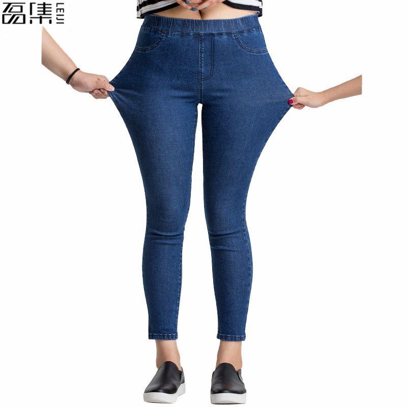 Femmes Jeans grande taille décontracté taille haute été automne pantalon Slim Stretch coton Denim pantalon pour femme bleu noir 4xl 5xl 6xl
