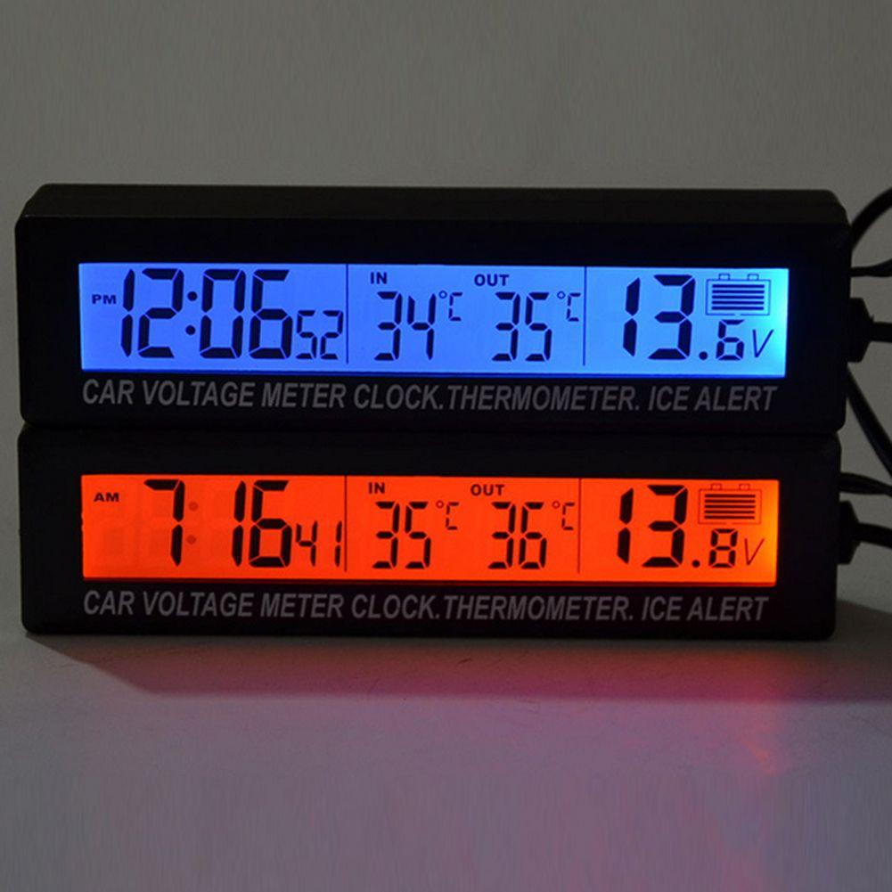 Thermomètre de voiture voltmètre Auto intérieur extérieur Termometro température tension compteur réveil 95x15mm bleu Orange rétro-éclairage