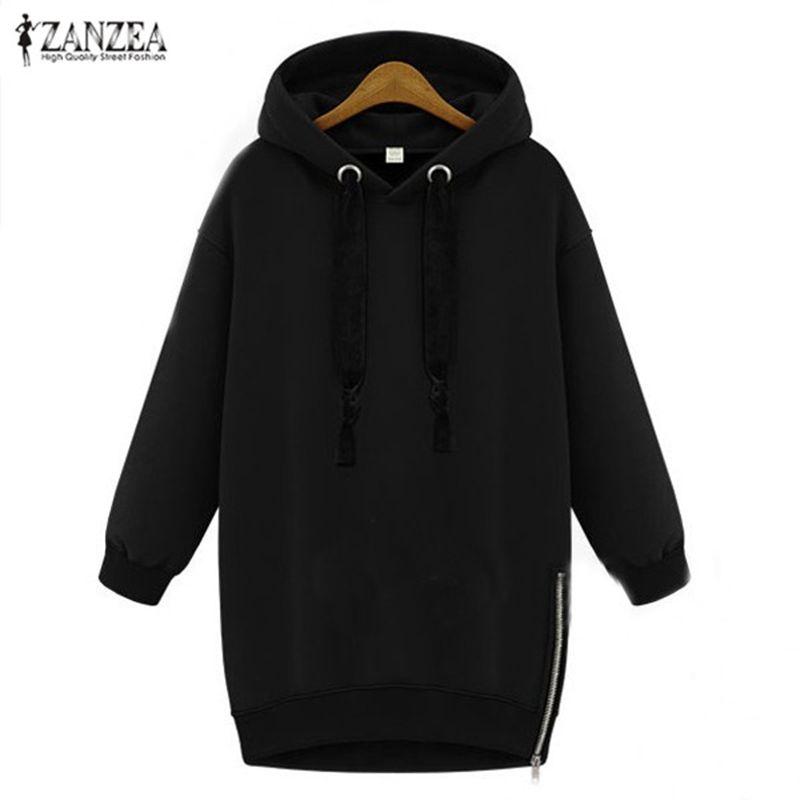 ZANZEA Women Hoodies Sweatshirt 2018 Spring Autumn Pullover Casual Loose Long Sleeve Fleece Warm Hooded Tops Plus <font><b>Size</b></font> S-5XL