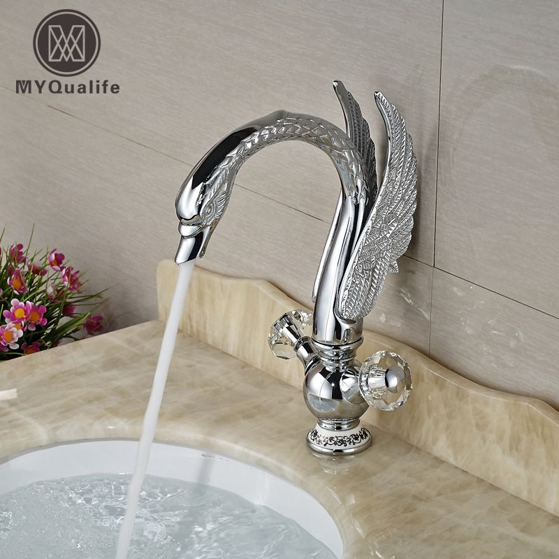 Luxury Dual Cristal Handle Bathroom Basin Sink Mixer Taps Swan Shape Chrome Finish