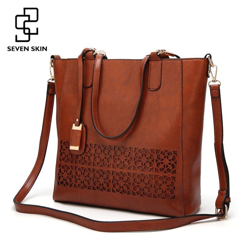 SEVEN SKIN Brand Women's Shoulder Bag Female Leather Handbag Women Bags Designer High Quality Hollow Out Large Capacity Tote Bag