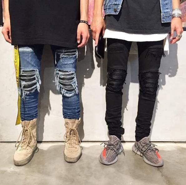 2017 Justin Bieber Black Icon Designer Men Ripped Jeans Blue/Black Destroyed Slim Denim Casual Skinny Ruched Jeans 30-36