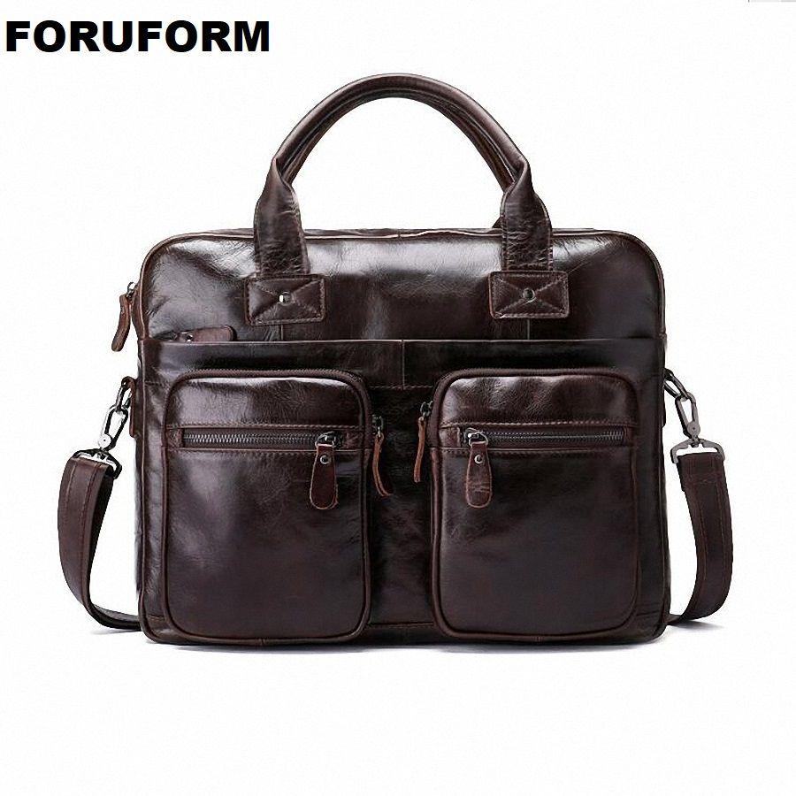 Männer Öl Wachsartige Leder Design Business Aktentasche 14 zoll Laptop Dokument Fall Mode Attache Messenger Tasche Tote Portfolio LI-2266