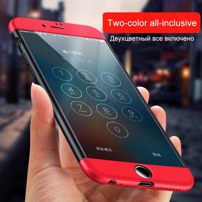 PLV 360 Degrés Protection Cas Pour iphone 6 6 s plus 7 Couverture de luxe En Plastique Dur Antichoc Retour Cas Pour iphone 5 5S 7 Plus