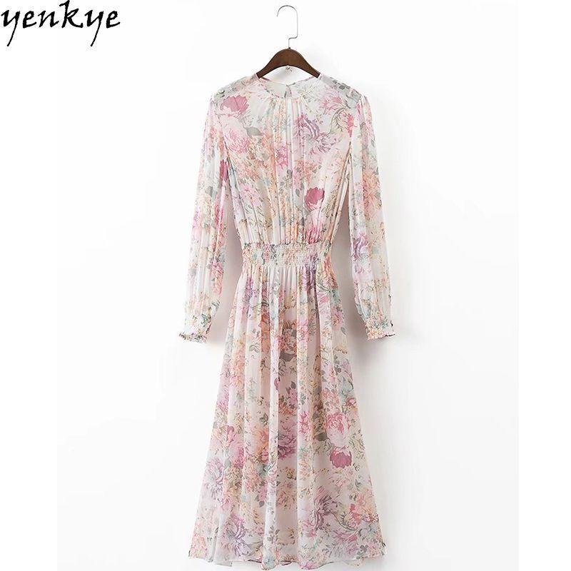 Automne Robe En Mousseline de Soie Doux Femmes O Cou À Manches Longues Floral Robe Taille Élastique Casual Midi Robe Marque Robes Mujer XDWM375