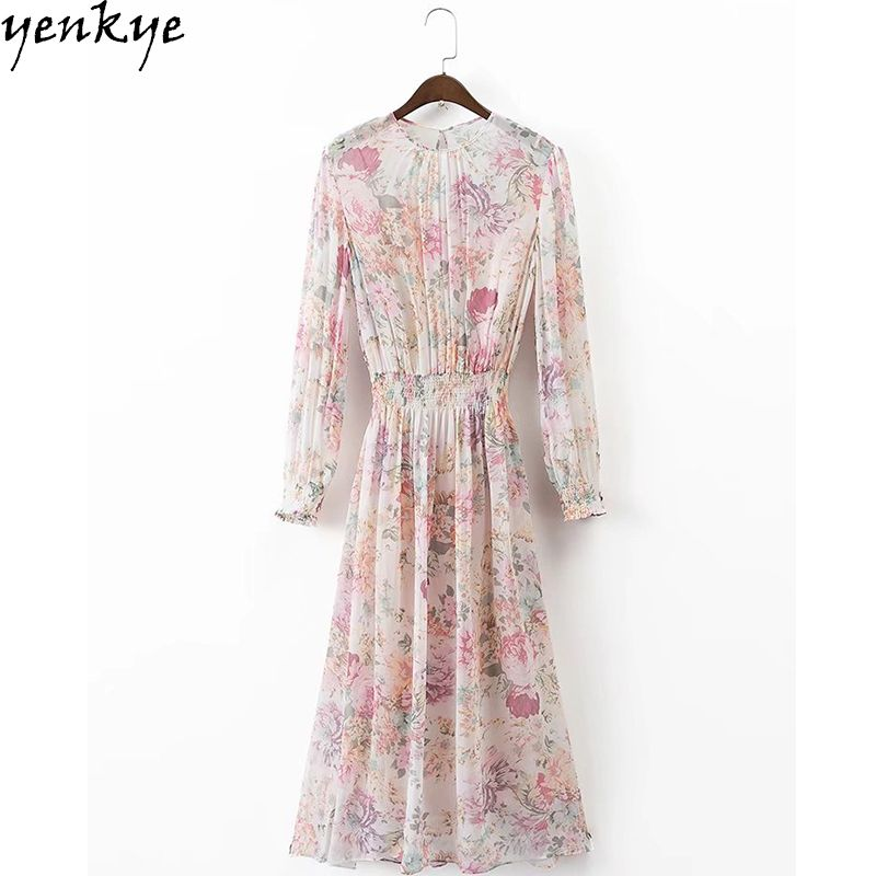 Automne robe en mousseline de soie doux femmes O cou à manches longues robe florale taille élastique décontracté robe Midi marque Vestidos Mujer XDWM375
