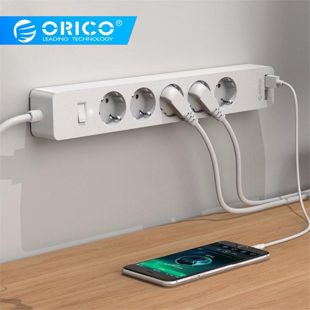 ORICO USB Smart Power Strip Socket 4000w with Adhesive Board socket 2 AC 5AC Outlets 2 USB Charging Ports for Home Office plug