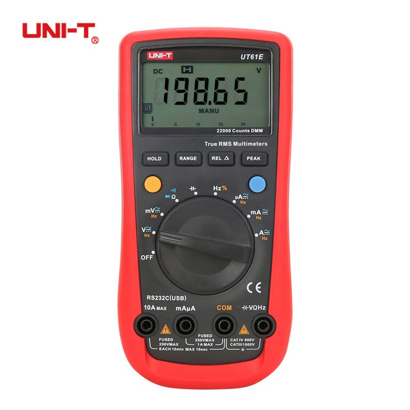 UNI-T UT61A UT61B UT61C UT61D UT61E Digital Multimeters True RMS AC DC Auto Range Tester Meter hEF RE-232 Diode Temperature