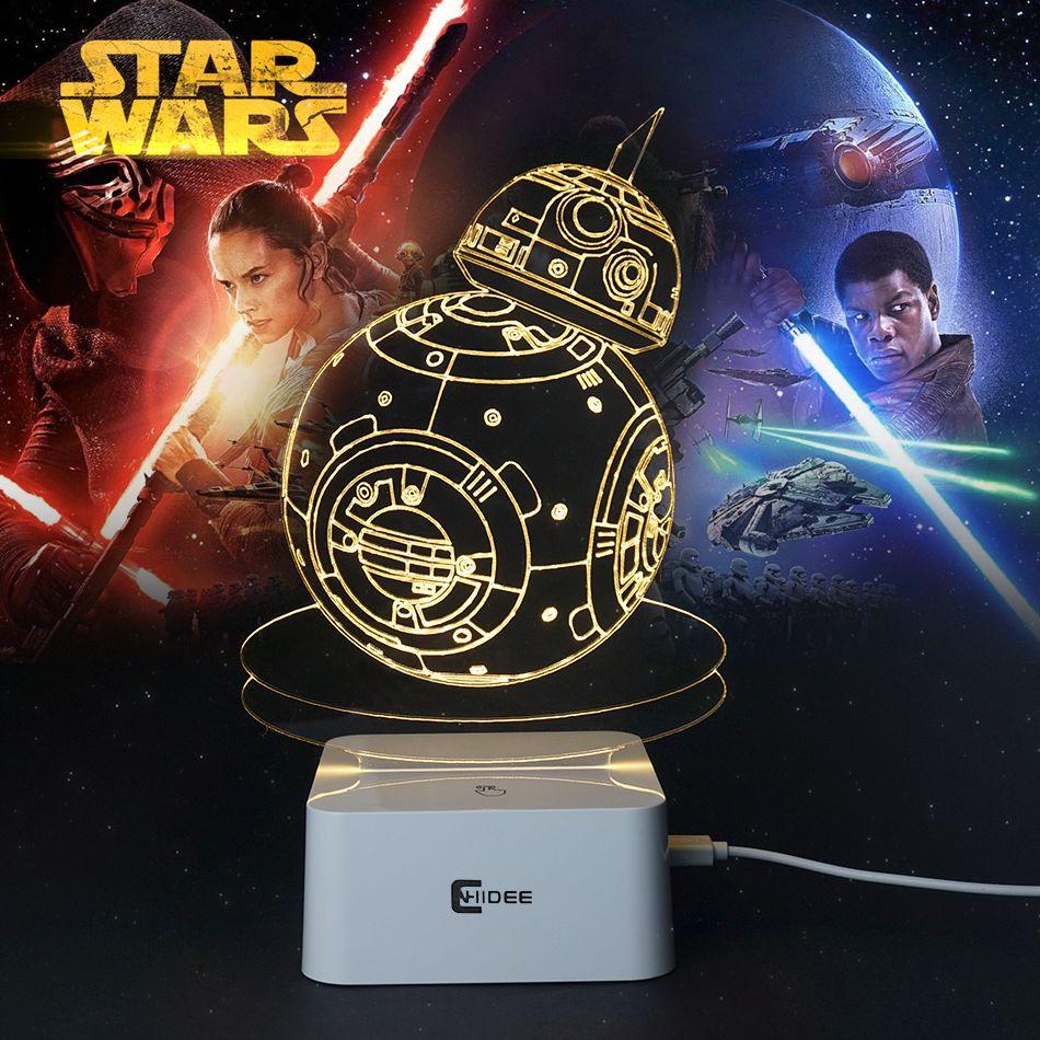 Творческие подарки Звёздные войны-светильник 3D ночник Робот USB LED Таблица Настольная Lampara как Домашний Декор Спальня чтения ночник