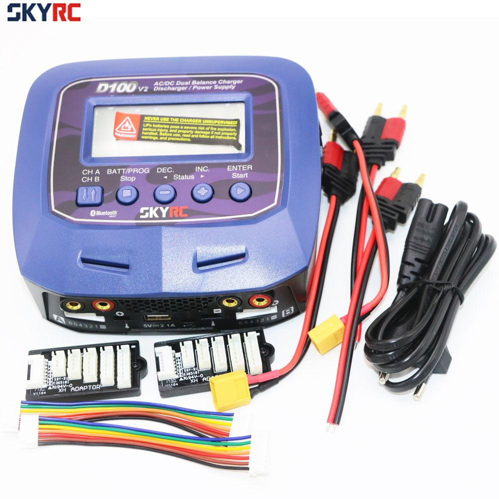 Skyrc D100 V2 Charger Twin-Channel AC/DC LiPo 1-6s 2x100W Dual with Bluetooth Balance Charger Discharge for Lipo Li-ion Battery