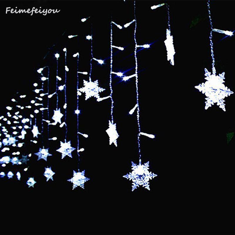 Feimefeiyou Водонепроницаемый 3.5 м 96 снежинка LED 8 режимов строки Фея для Рождество Новый год фестиваль Свадьба карнизы украшения