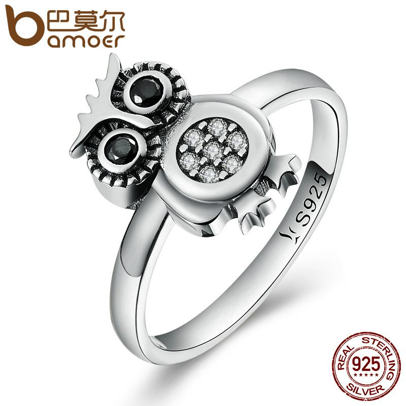 BAMOER Hot Sale 100% 925 Sterling Silver Lovely Cute Owl Women Finger Ring ,Clear CZ Fashion Sterling Jewelry Gift S925 SCR077