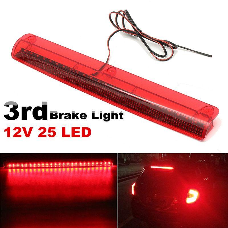 Universal Car 25 LED High Mount Level Motorcycle Tail Light Third 3RD Brake Stop Rear Tail Light Lamp 12V Red