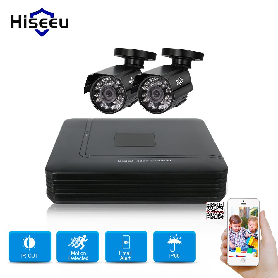 Hiseeu 4CH DVR CCTV System 2PCS Cameras 2CH 1.0 MP IR Outdoor Security Camera 720P HDMI AHD CCTV DVR 1200 TVL Surveillance Kit