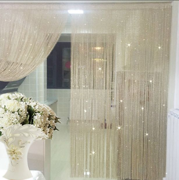 Crypté Argent Fil Style Tige-Haut paquet Chaîne Rideau pour Porte Fenêtre et Décoration De Mariage 95 cm par 195 cm