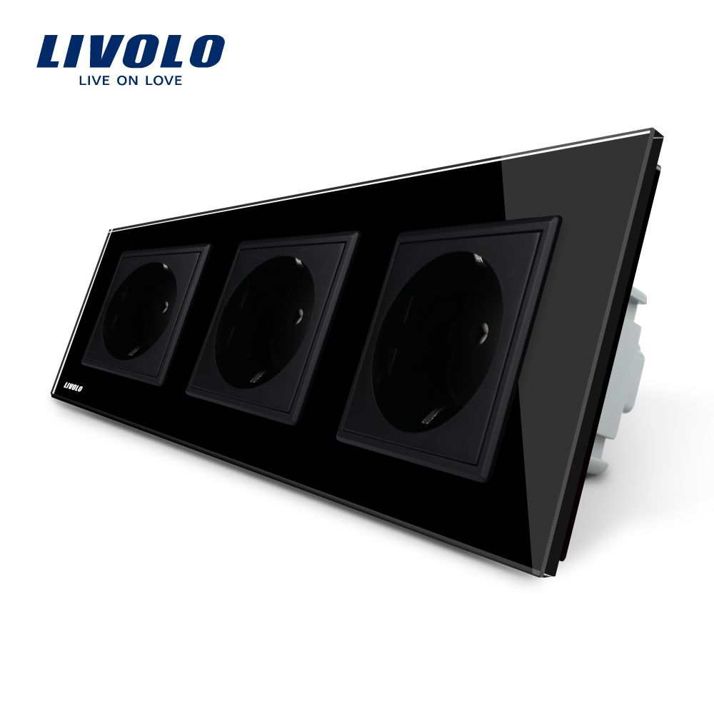Livolo EU Standard Socket, Black Crystal Toughened Glass Outlet Panel, Triple Wall Power Sockets Without Plug,VL-C7C3EU-12