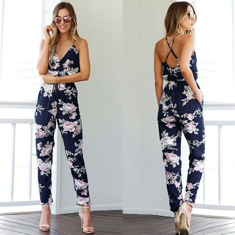 Hot Women's Casual Sleeveless Sexy Spaghetti Strap V-neck Floral Print Bodysuit Playsuit Party Jumpsuit Romper Long Trousers