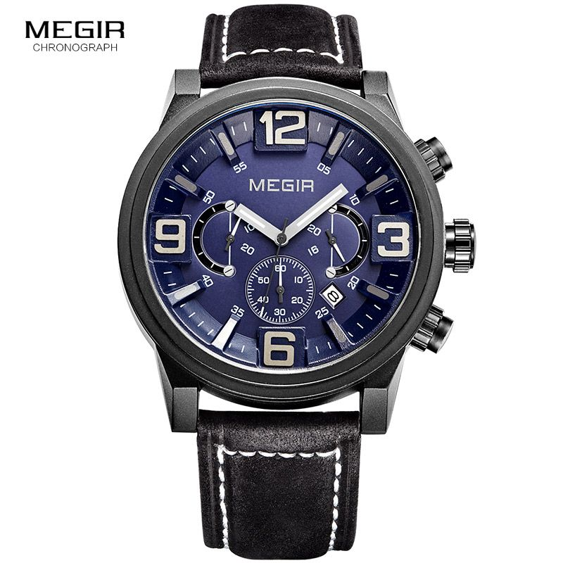 MEGIR new fashion casual quartz watch men large dial waterproof chronograph releather wrist watch relojes free shipping 3010